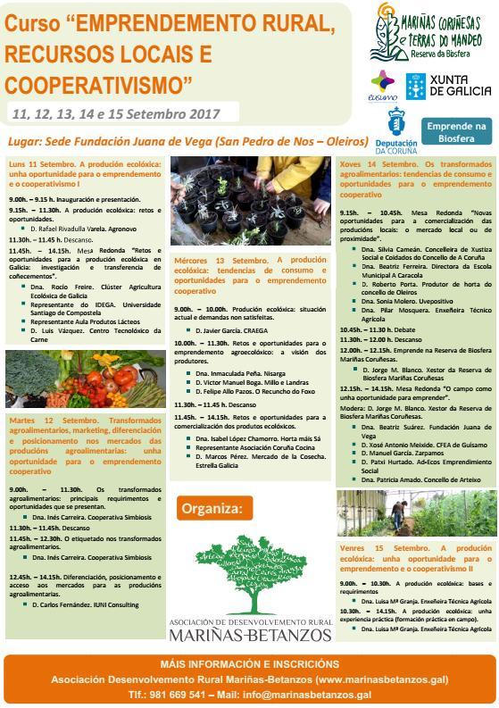 Curso Emprendemento Rural, Recursos Locais e Cooperativismo