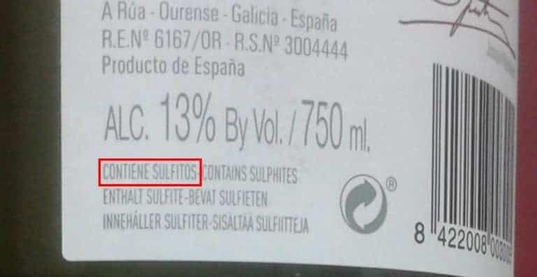 sulfitos. Etiquetado alérgenos